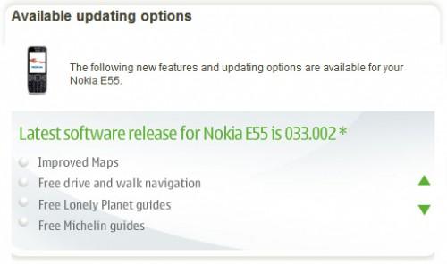 Nokia E52 E55 software update 033