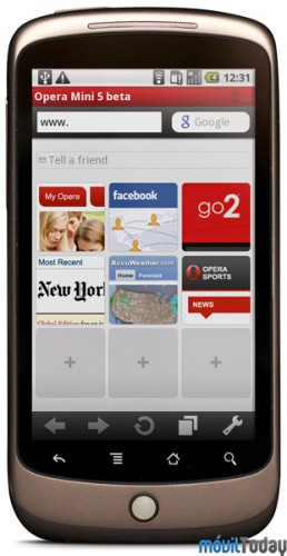 Opera Mini 5 Beta en Google Nexus One