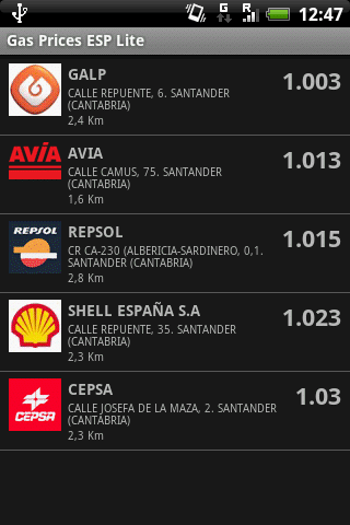 Gas Prices ESP Lite - Lista de gasolineras