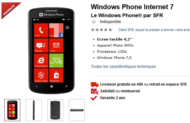 ZTE Tania Windows Phone SFR