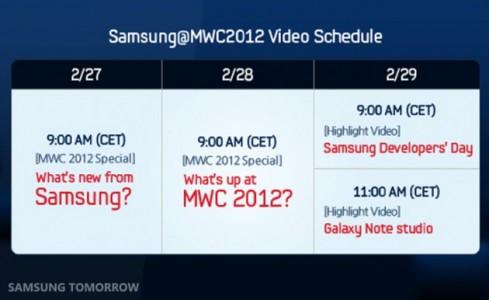 calendario de ruedas de prensa de Samsung