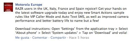 Motorola Europe actualización RAZR
