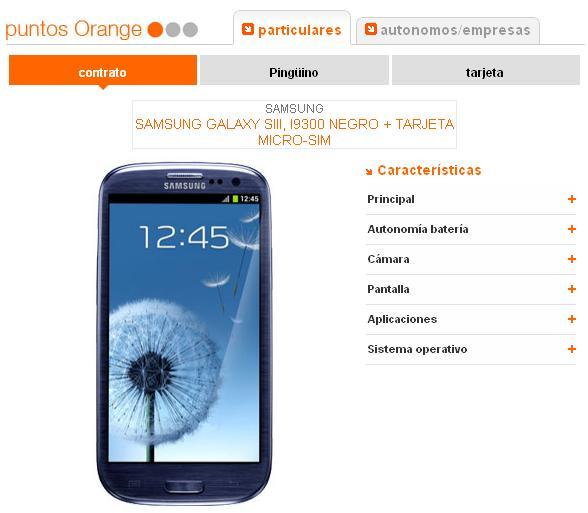 Samsung Galaxy SIII puntos Orange
