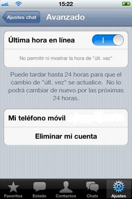 Cómo desactivar la última hora de conexión en WhatsApp