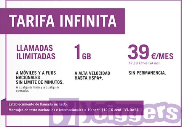 Tarifa Infinita Yoigo 39 euros al mes