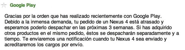 Retraso envíos Nexus 4