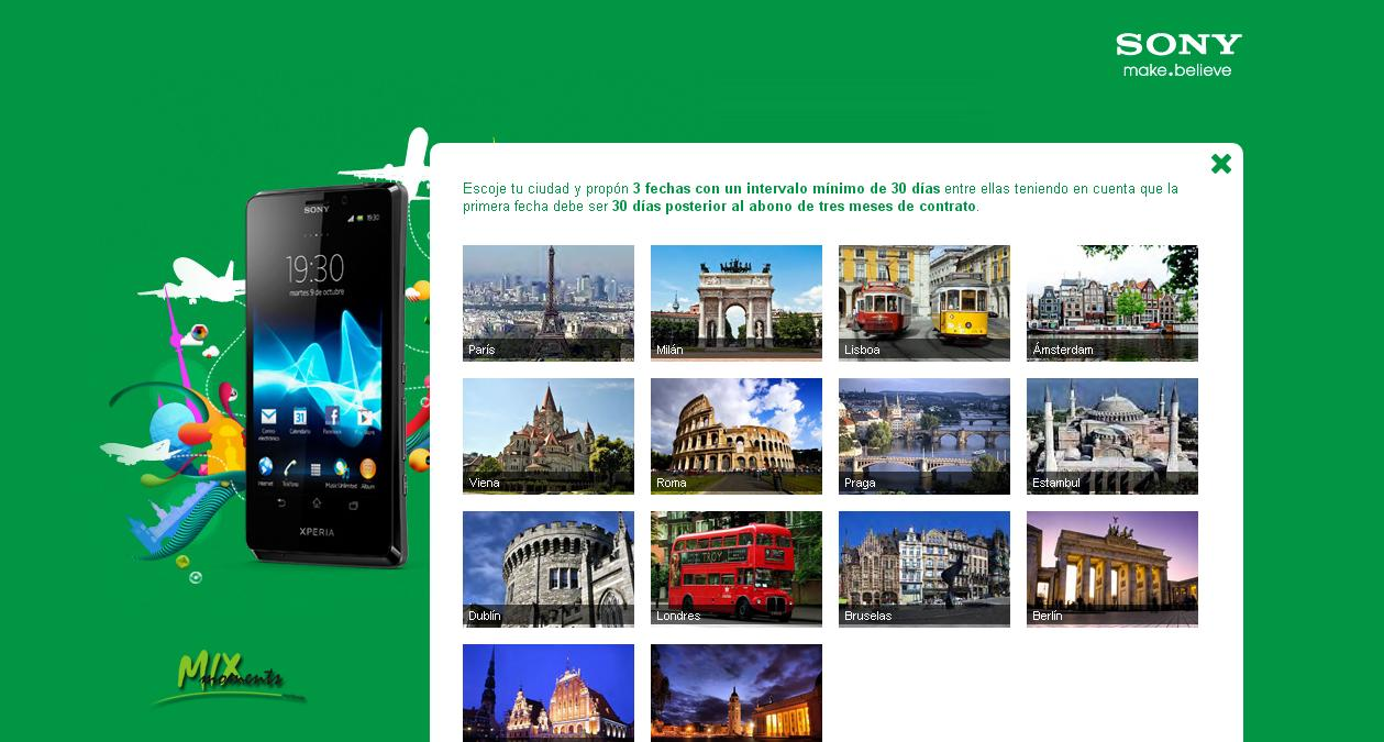Sony Xperia T viaje gratis