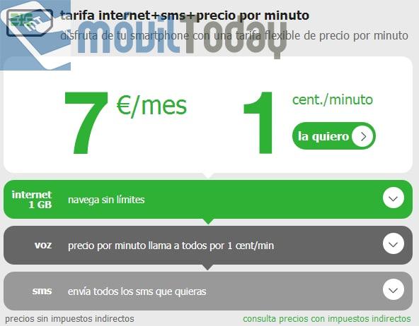 Nueva tarifa 7€ de Internet y SMS de Amena