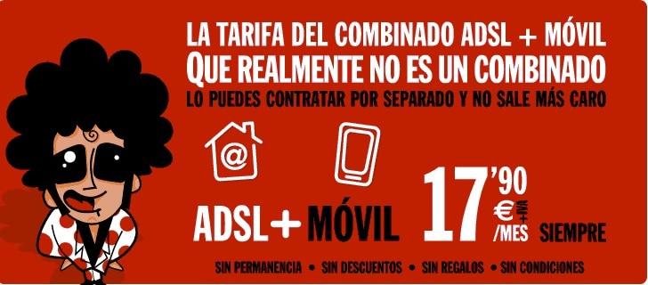 ADSL y móvil con Pepephone por 17,90 euros