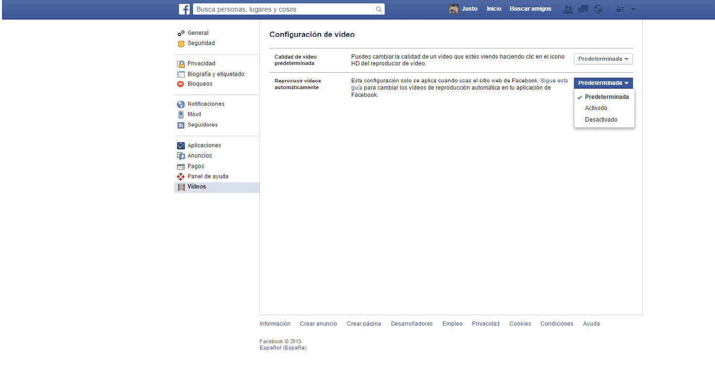 desactivar reproducción automática videos en Facebook