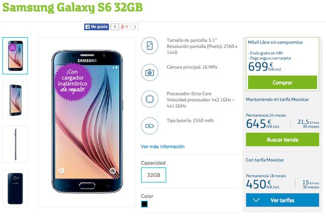Samsung galaxy s6 descuento de 249 euros con movistar for Financiar movil libre