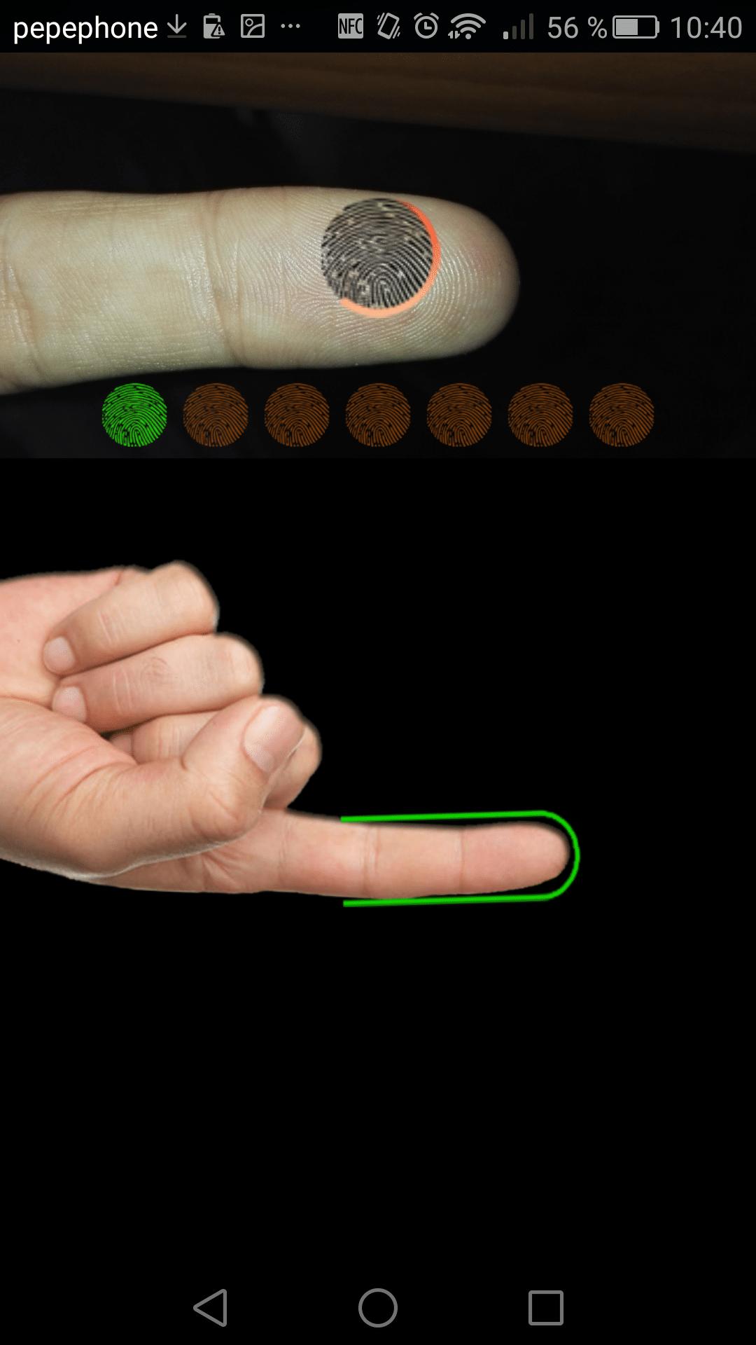 Lector de huellas dactilares Android