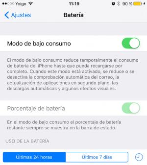 Modo bajo consumo iOS 9