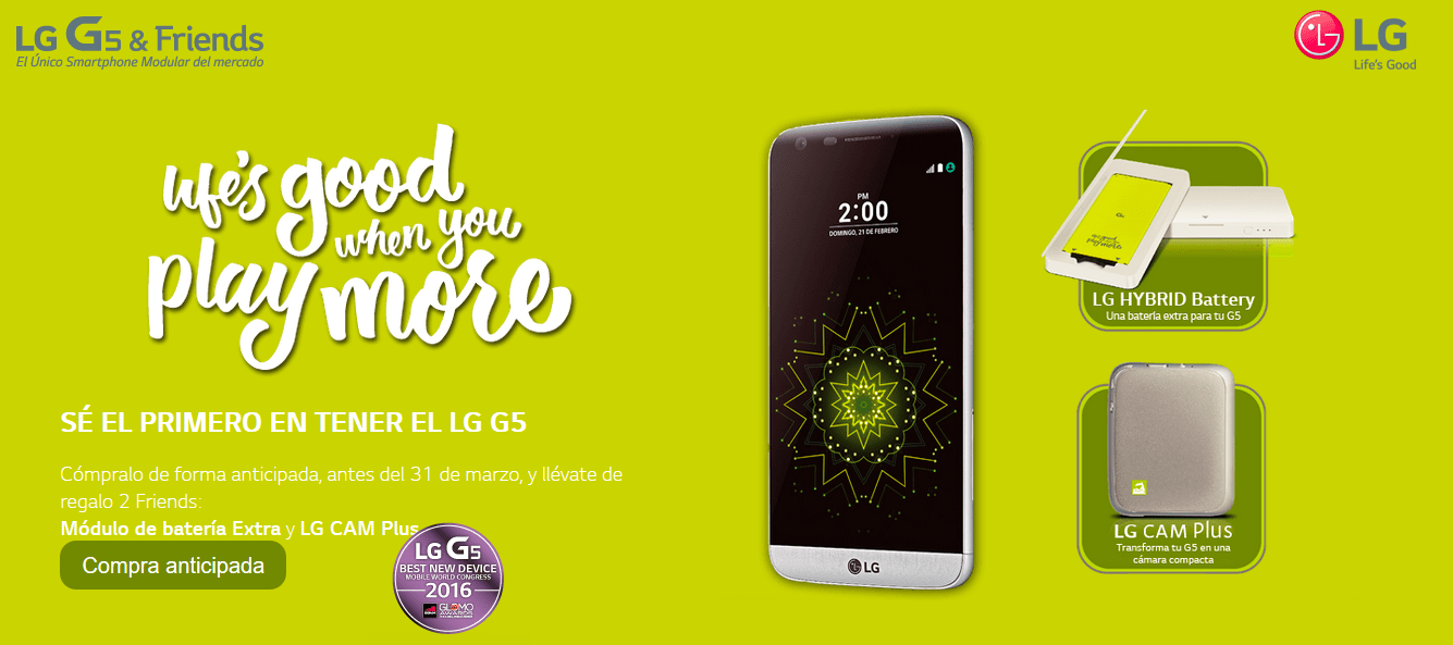Lg g5 ya disponible para reserva m vil experto for Primicias ya para movil