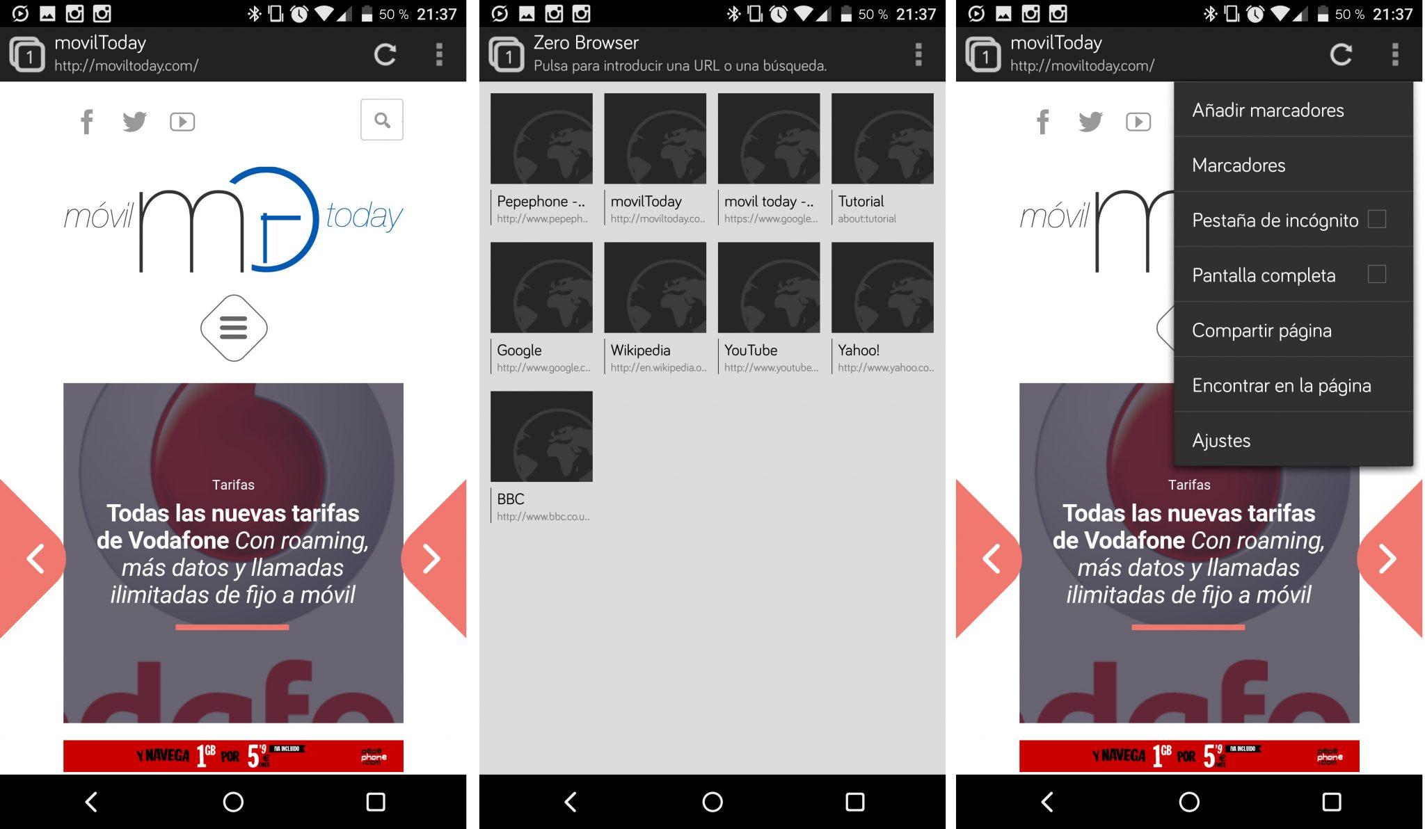 Los mejores navegadores de Android (Zero)