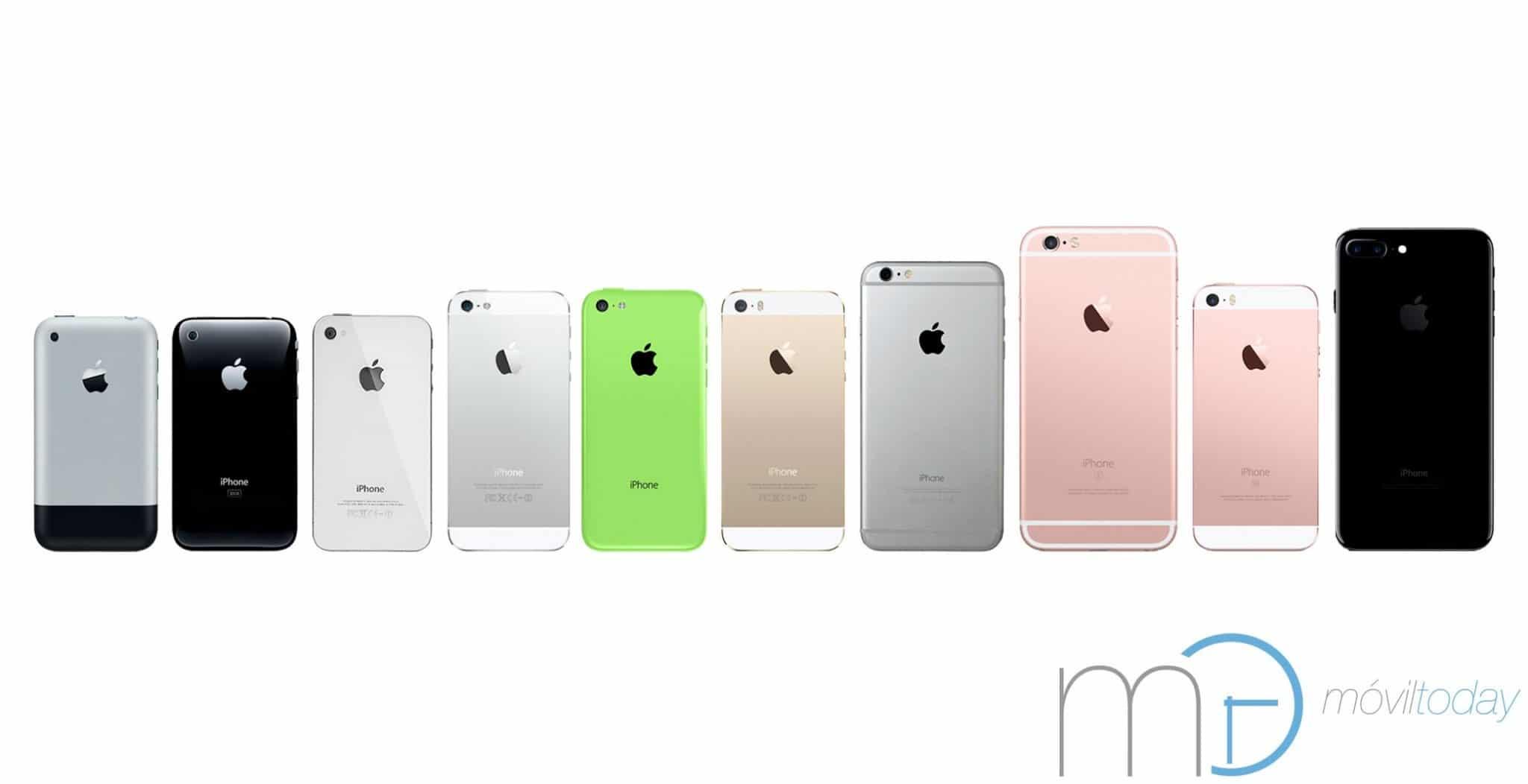 Evolución del iPhone, del iPhone (2007) al iPhone 7 (2016)
