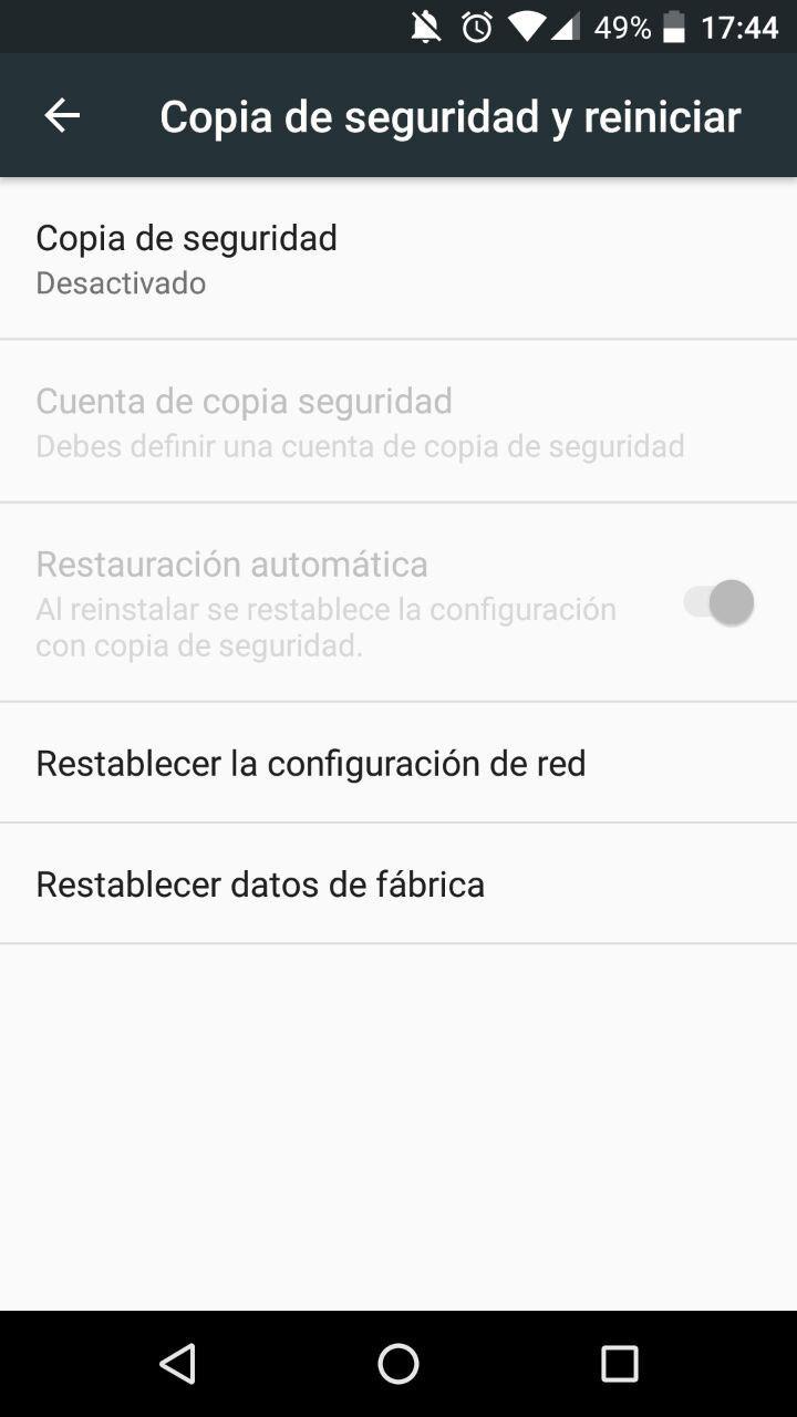 Ajustes Android Restablecimiento Fábrica