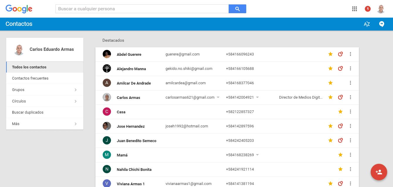 Plataforma de Google Contacts
