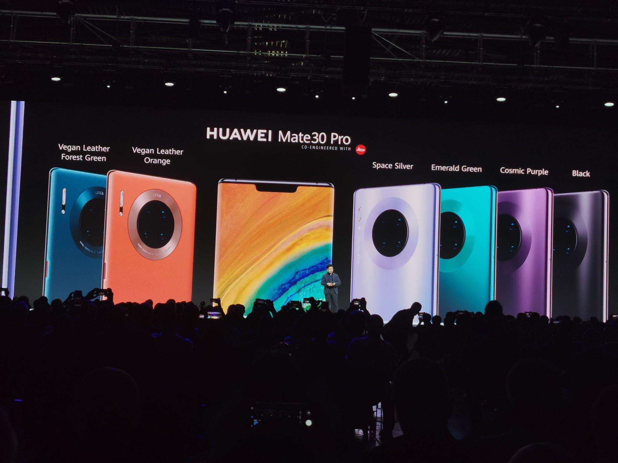 La gama de colores del Huawei Mate 30 Pro